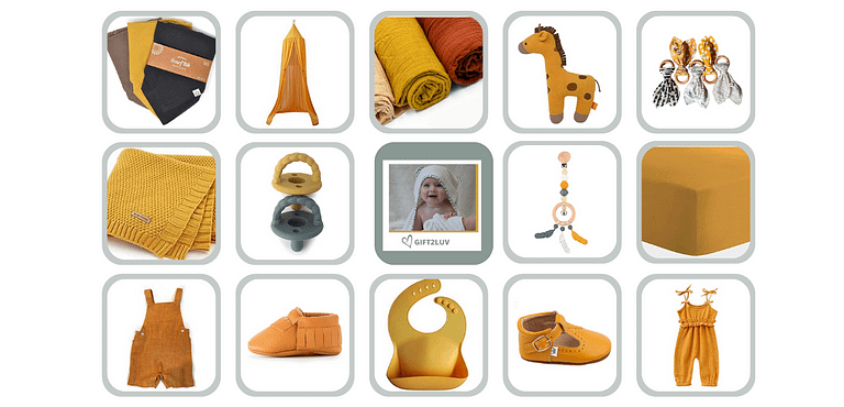 Collage of mustard yellow baby gifts